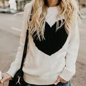 White & Black Heart Cable Knit Crewneck Sweater